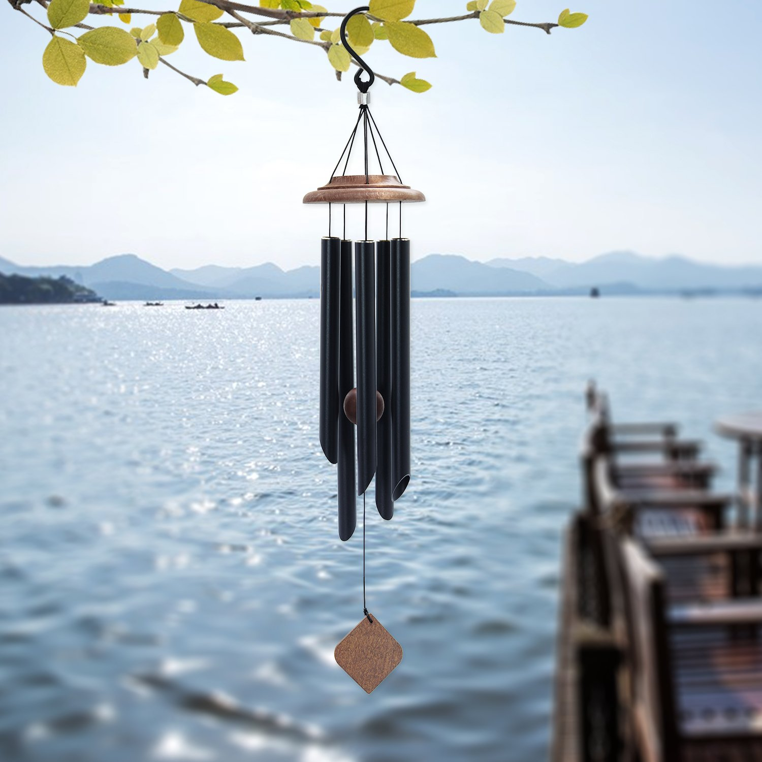 Wind Chimes Outdoor, Memorial Wind Chimes with Amazing Grace Sound, Sympathy Wind Chimes with 5 Metal Tubes, Black Wind Chime for Garden, Balcony, Patio and Home Decor, Tuned Wind Chimes (26'')