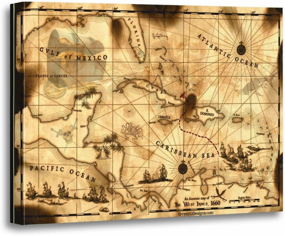 Amazon Com Torass Canvas Wall Art Print Pirate Caribbean Treasure Map Florida Bahamas Islands Ships Artwork For Home Decor 12 X 16 Posters Prints