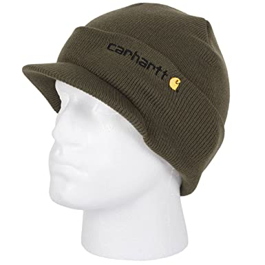 0b09ccac37b Carhartt Winter Hat with Visor - Green CHA164ARG Mens Beanie with peak Hat  CHA164ARG-Universal  Amazon.co.uk  Clothing