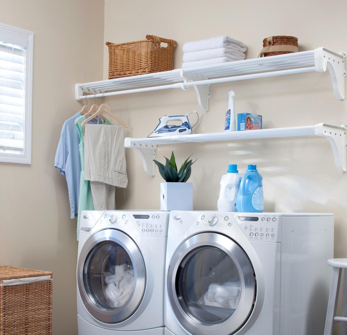 EZ Shelf - Expandable Laundry Room Organizer, up to 12.6 ft of Laundry Room Storage and 6.3 ft of Laundry Room Shelves(with Hanging Rod), White