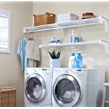 EZ Shelf Expandable Laundry Room Shelving Kit Wall Mount White