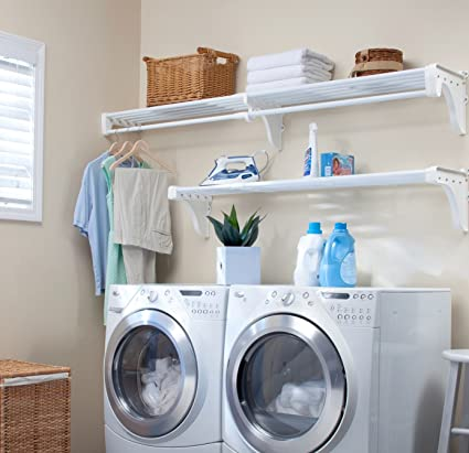 Laundry room hanging rod Sscapital Image Unavailable Pinterest Amazoncom Ez Shelf Expandable Laundry Room Organizer Up To 126