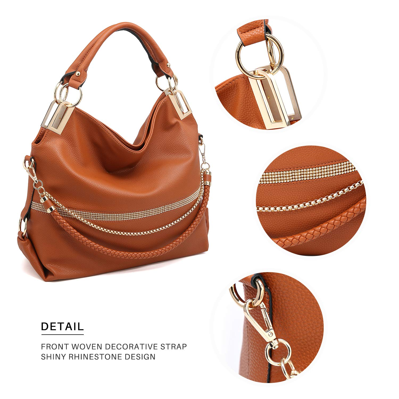 568f57b962fb Dasein Women s Classic Large Hobo Bag Rhinestone Chain Shoulder Bag Top  Handle Purse