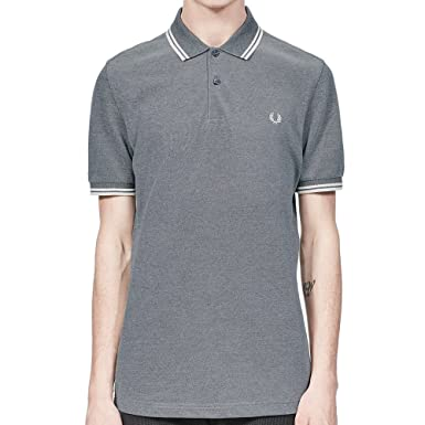 c51866df2 Fred Perry Twin Tipped Polo Shirt in Carbon Blue Oxford: Amazon.co.uk:  Clothing