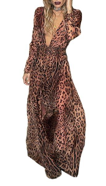 Simple-Fashion Autunno Primavera Donne Vestito Sexy V Collo Manica Lunga  Vestiti da Cocktail Partito Festa Giovane Moda Leopardato Maxi Abito da  Spiaggia  ... f3824b0875c