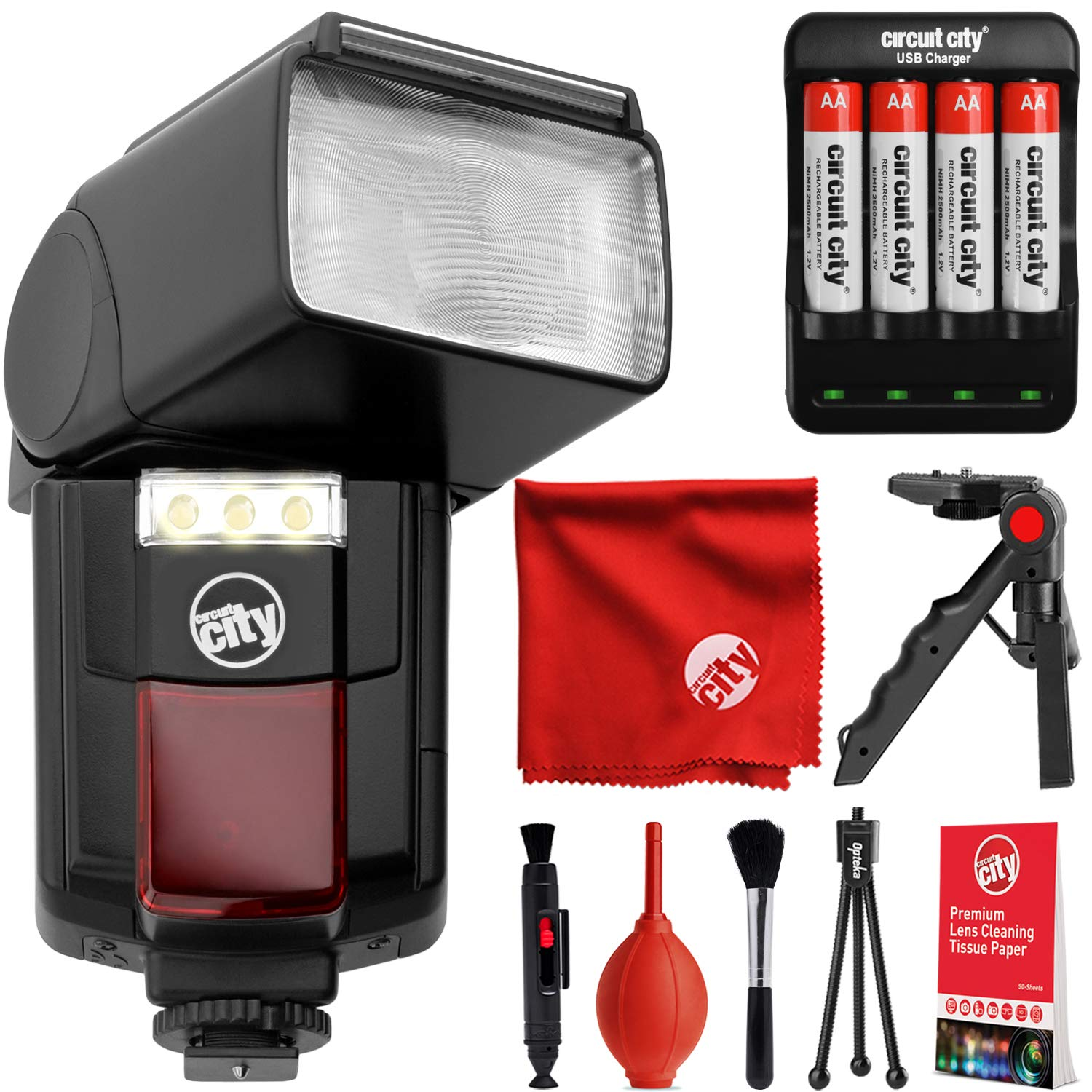 Opteka Flash IF-800 Autofocus Speedlight with Built-in LED Video Light Kit for Canon, Nikon, Pentax, Sony, Panasonic, Olympus, Samsung, Fujifilm, Ricoh DSLR and Digital Cameras with Standard Hot Shoe