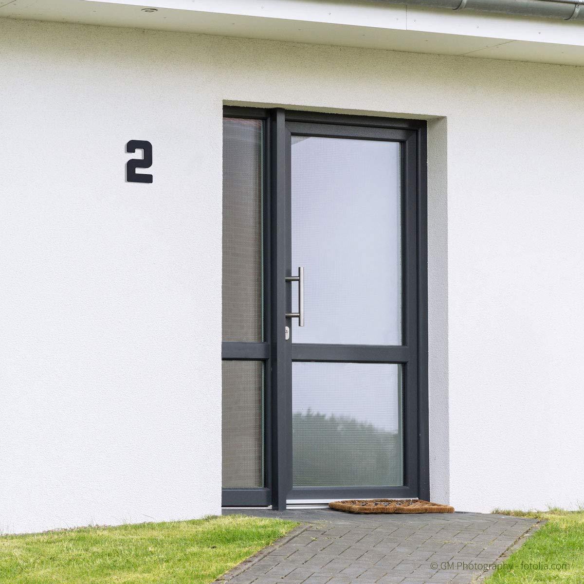5 RAL 7016 anthrazit pulverbeschichtet H: 160mm Thorwa/® moderne Design Edelstahl Hausnummer Future Stil