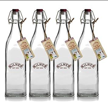 4 botellas cuadradas de vidrio de 1 litro con tapas de clip de Kilner Bottles.