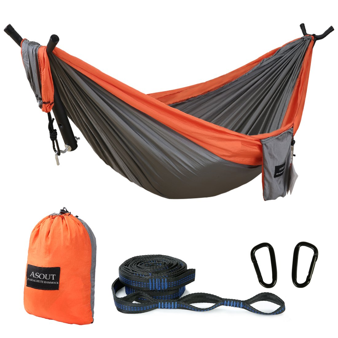 ASOUT Outdoor Single Double Camping Hammock with Tree Straps, Portable Lightweight Parachute Nylon Hammock for Hiking, Backpacking, Picnic,Travel and Other Outdoor Sports by ASOUT
