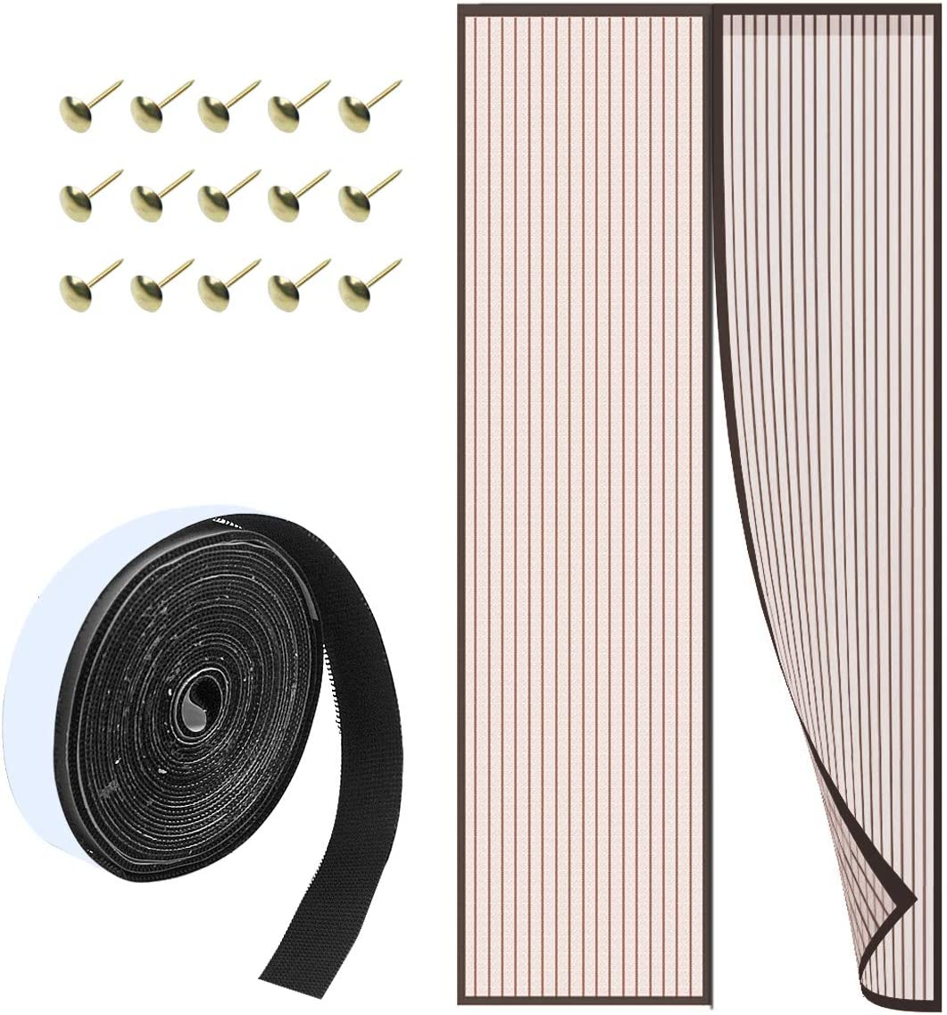 Mosquitera Puerta Magnetica 90x210 cm Cortina Mosquitera de Puerta con Imanes para Puertas de Salón/Balcón/Corredor Automático Que Evita el Paso de Insectos Marrón
