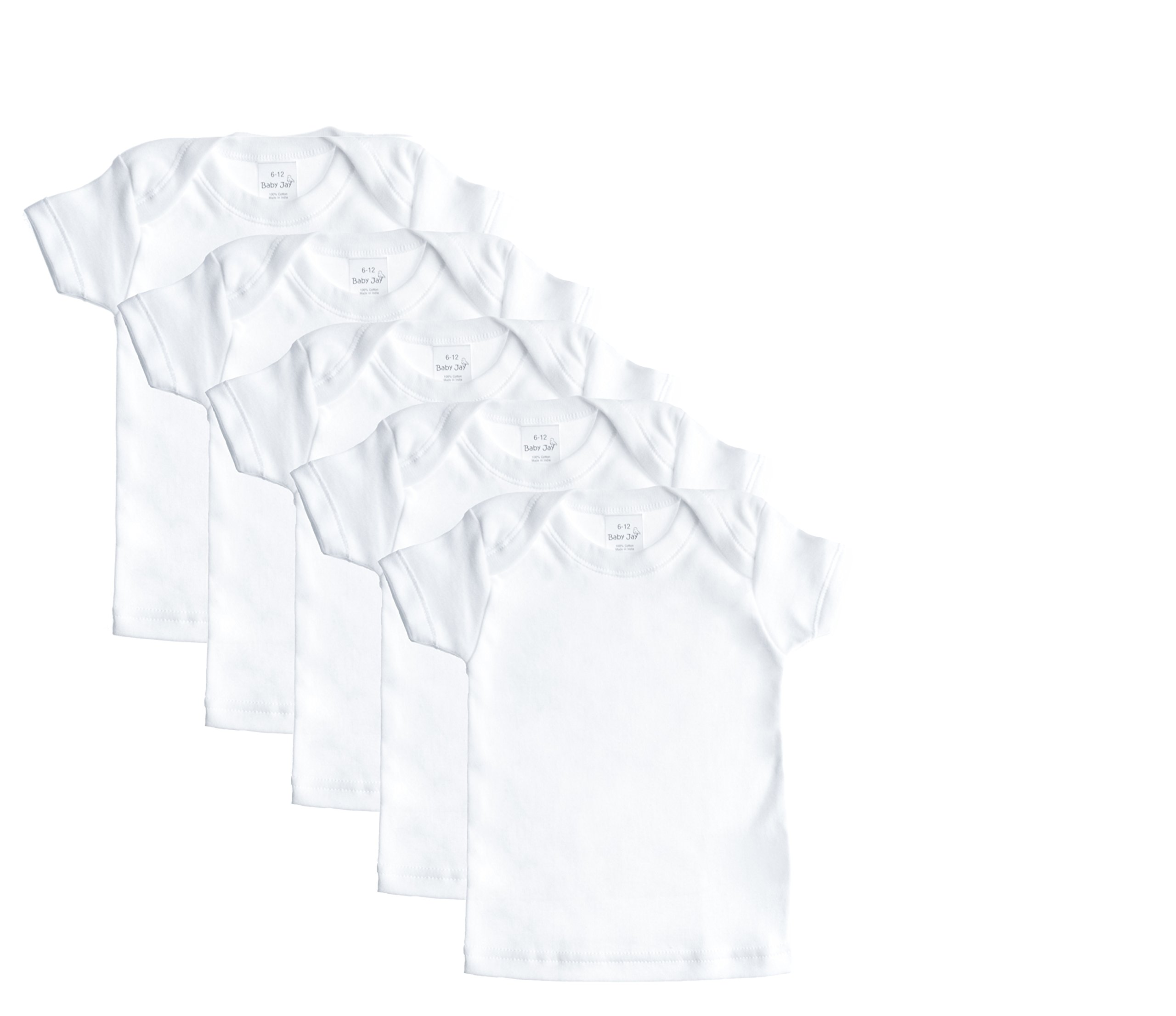 Baby Jay Cotton Undershirt T-Shirt, Short Sleeve Lap Shoulder - WTSE 6-12 5-Pack by Baby Jay (Image #1)