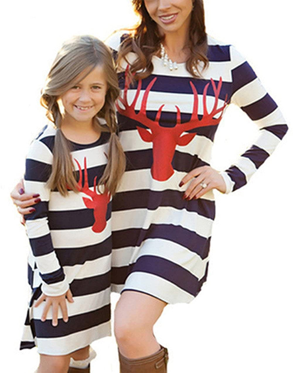 NANYUAYA Mom and Me Stripe Deer Print Long Sleeve Dress Look Matching Family Clothing