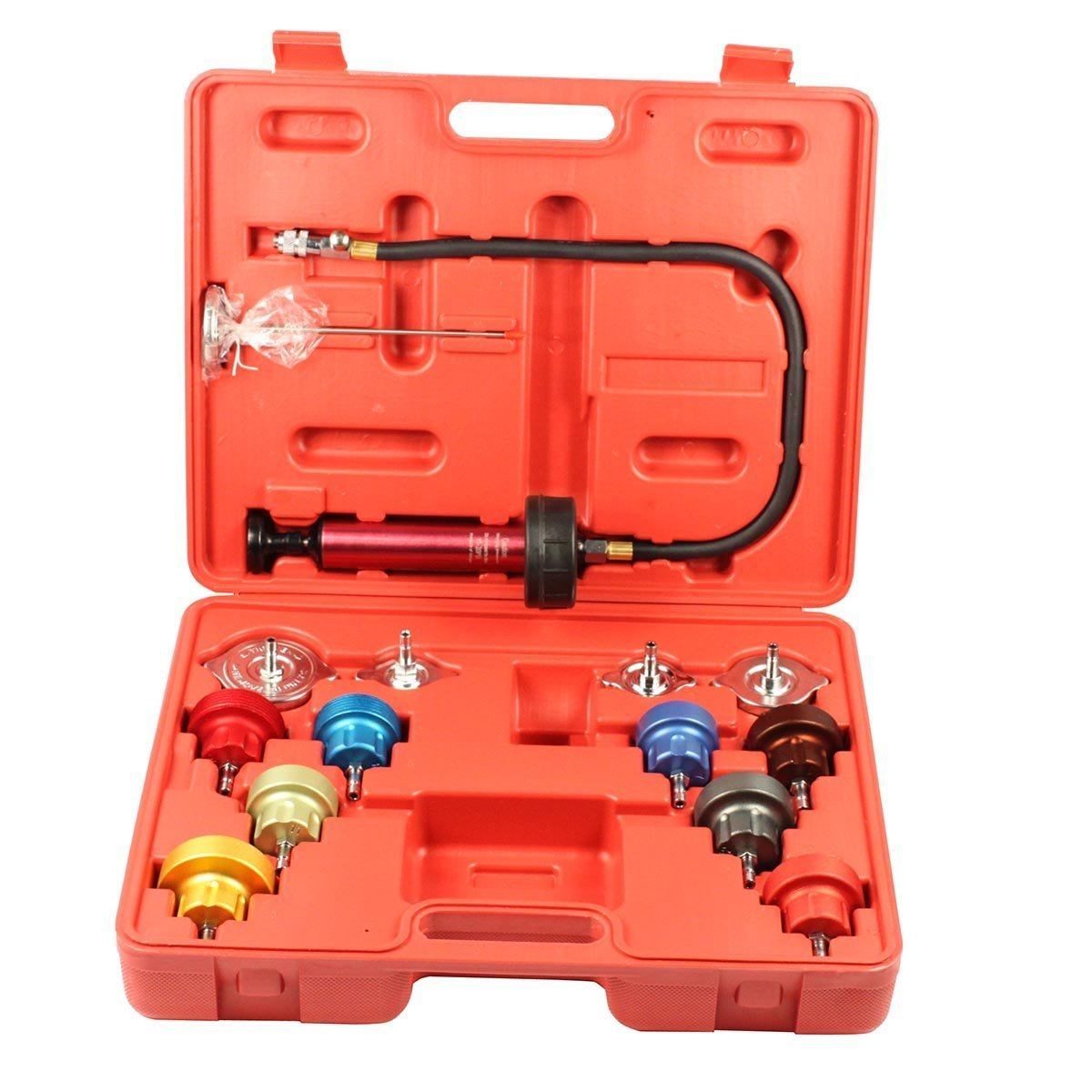14pc Radiator Pump Pressure Leak Tester Checker Kit Aluminum Adapters w/Case