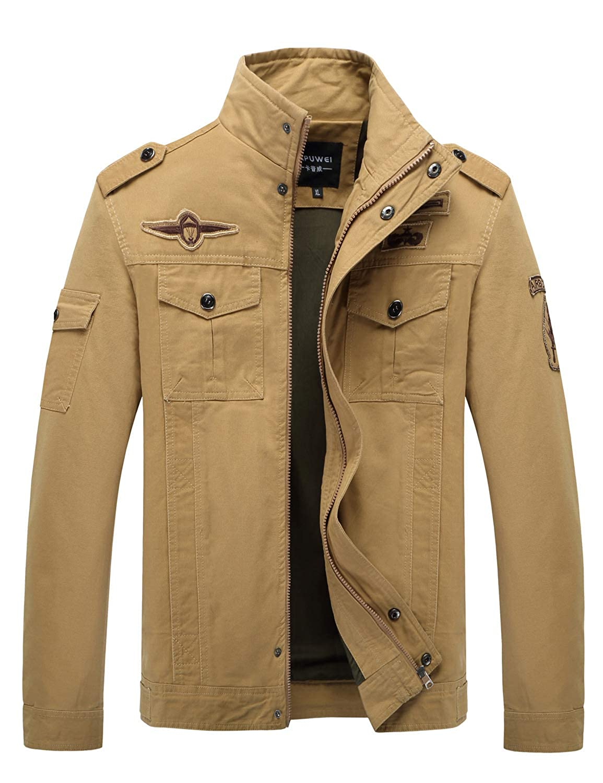 Men's Windbreaker Jacket, Military Jacket Cotton Lightweight Outdoor Coat Full Zip Stand Collar Jacket With Shoulder Straps Men' s Windbreaker Jacket