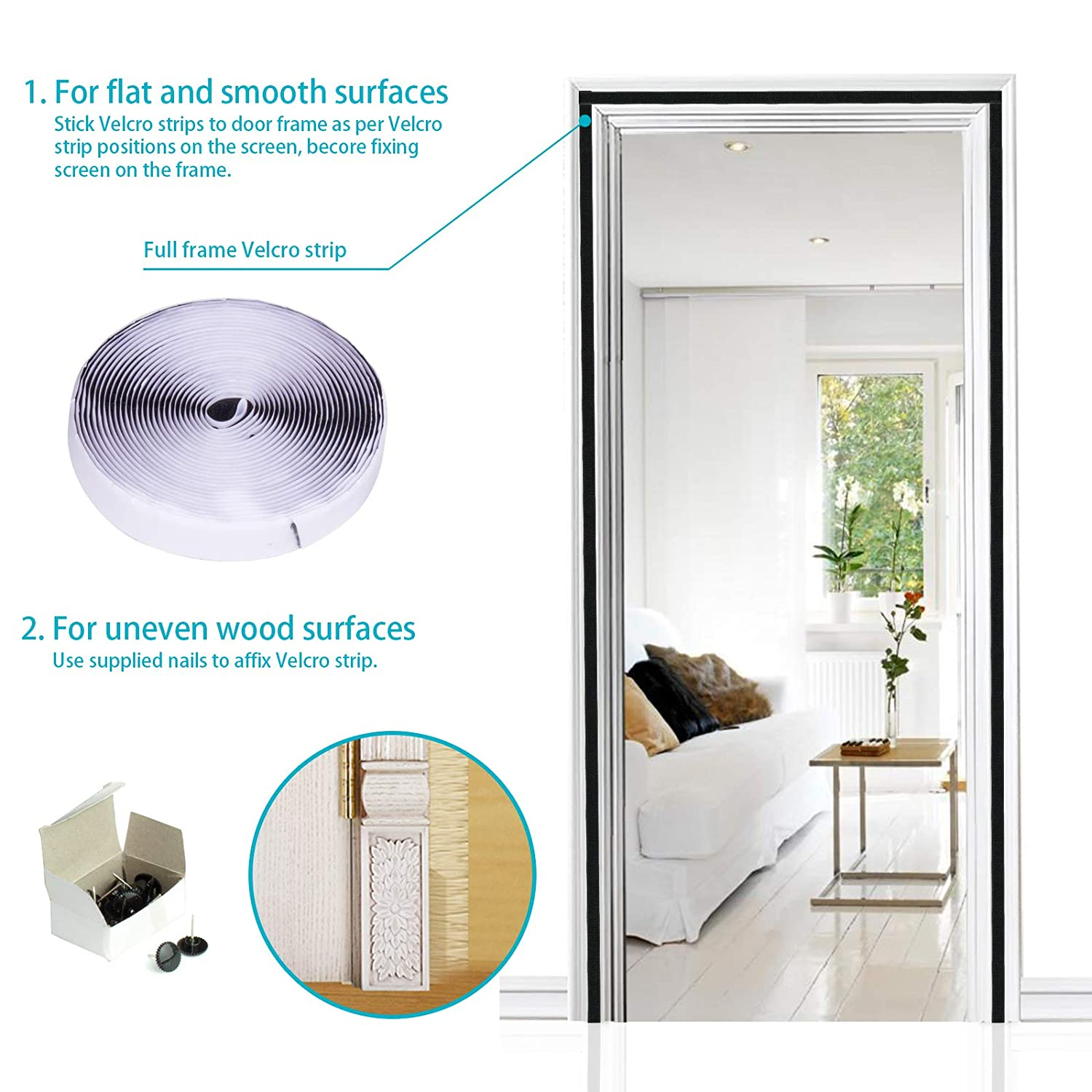 Apalus Magnetic Screen Door, Walk Through Easily, Super Strong Magic Mesh,  28 Magnets From Top to Bottom Ultra Seal Magnets Close Automatically(36