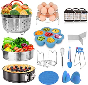 Instant Pot Accessories Set Fits Instant pot 6,8 Qt - 15pcs Pressure Cooker Accessories, Springform Pan, Egg Steamer Rack, Silicon Egg Bites Mold, Magnetic Cheat Sheets