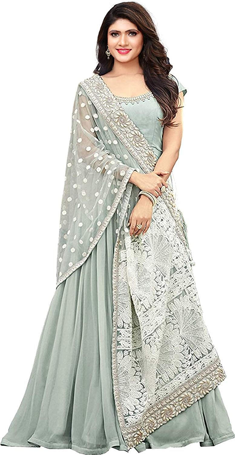 36449b538bf Tanviv Fashion Care Women's Georgette Embroidery Long Anarkali Style Salwar  Suit (FB-4, Grey , Free Size)
