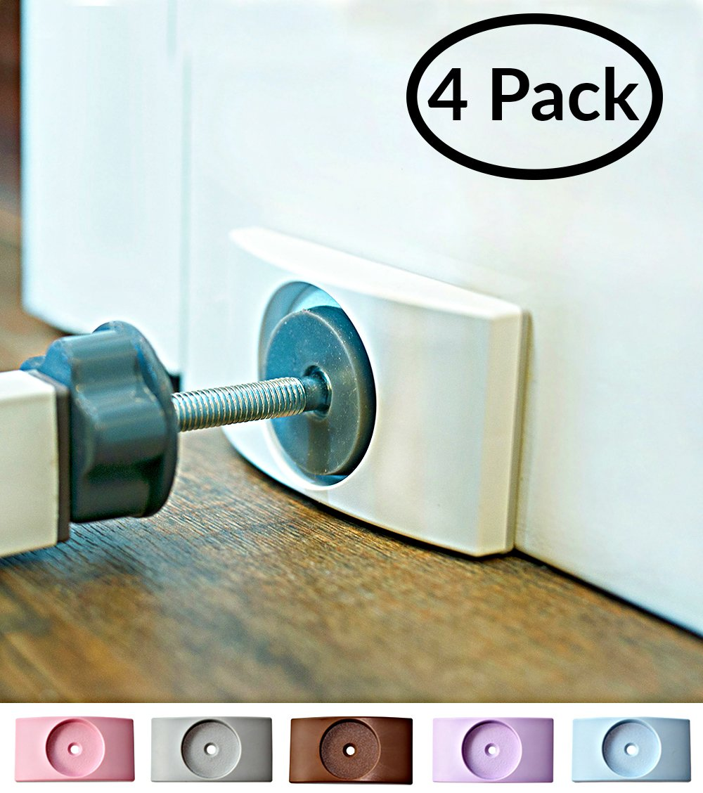 Wall Nanny - Baby Gate Wall Protector (4 Pack - Made in USA) Protect Walls & Doorways From Pet & Dog Gates - For Child Pressure Mounted Stair Safety Gate - No Safety Hazard on Bottom Spindles - Saver