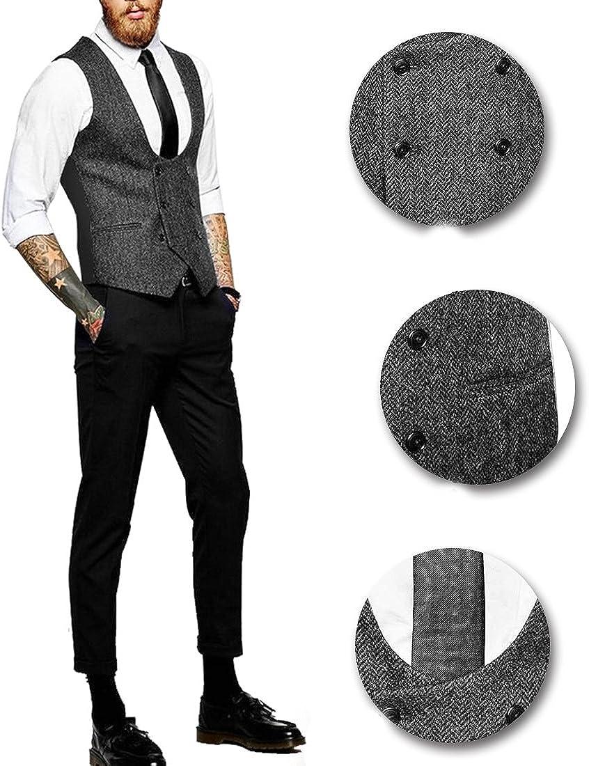 Mens Vintage Double Breasted Vest Designer U-Neck HerringboneTweed Waistcoat