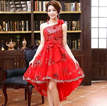 Bride Toast Vestido de Verano Y Oto?o Vestido de Novia de Encaje Rojo Párrafo