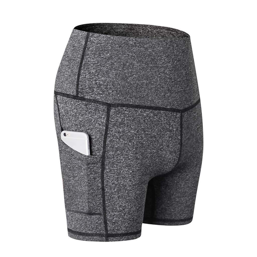 Yago Pants for Women, High Waist Out Pocket Solid Color Workout Sports Running Fitness Short Pants (S, Gray)