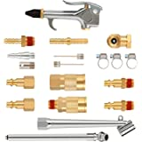 Hromee 20 Pieces 1/4 inch NPT Air Blow Gun and Brass Fittings Kit with Tire Inflation Needles Chuck Air Compressor…