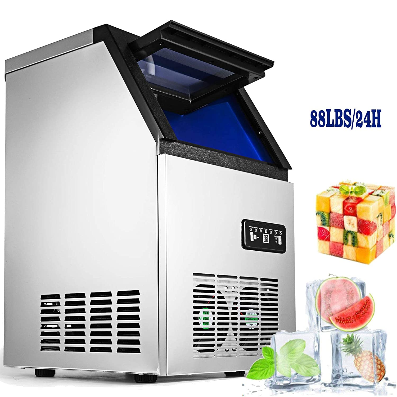 VEVOR 110V Commercial Ice Maker Stainless Steel Portable Automatic Ice Cube Maker Machine Bulit-In Ice Making Machine for Home Supermarkets Cafes (Digital Ice Machine, 88lbs/24h)