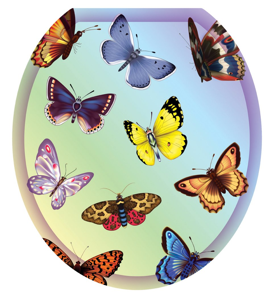 Toilet Tattoos TT-1022-R Butterfly Dreams Decorative Applique For Toilet Lid, Round by Toilet Tattoos