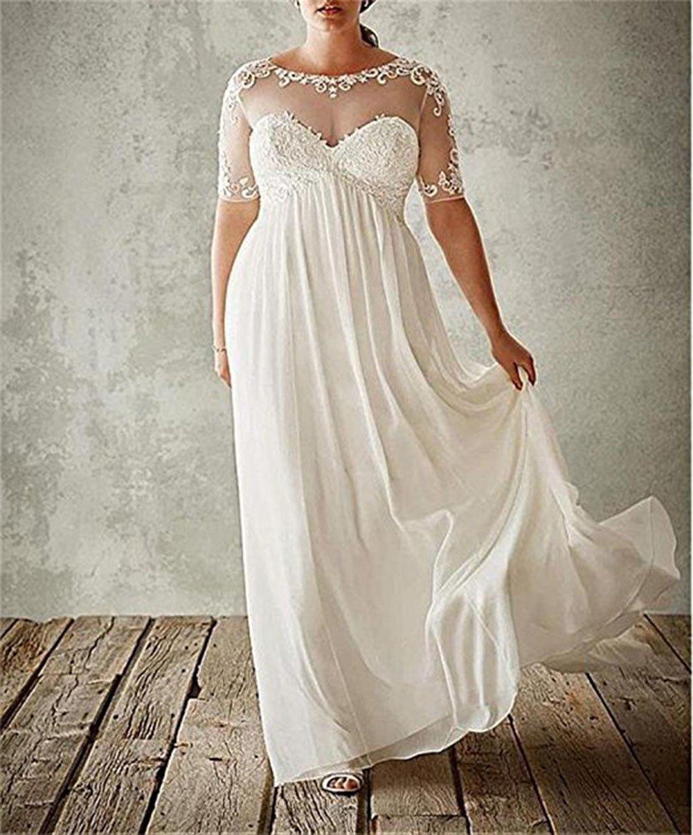 Ri Yun Women\'s Illusion Chiffon Wedding Dresses Plus Size For Bride Wedding  Dresses Bridal Gown 2018
