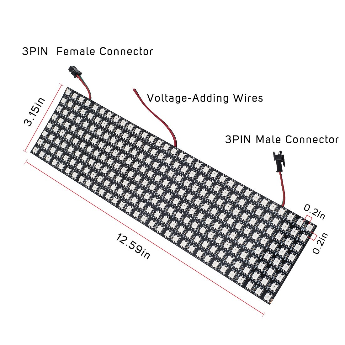 Btf Lighting 024ft096ft Pixel 256 Pixels Ws2812b Axl Guitar Wiring Diagram Digital Flexible Led Panel Individually Addressable Full Dream Color Dc5v Home