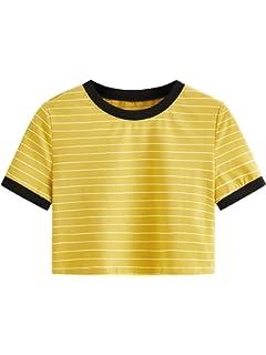 b5092c275c0 MAKEMECHIC Women s Short Sleeve Oversized Striped Summer Crop Tee T ...