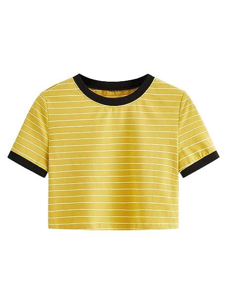 cef4ccd33b8b SweatyRocks Women's Short Sleeve Striped Crop T-Shirt Casual Tee Tops  Mustard XS
