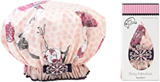product image for Dry Divas Designer Shower Cap - Washable, Reusable - Bouffant With Vintage Jeweled Brooch (Eiffel In Love With U)