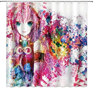 Anime Shower Curtain Pink Cartoon Pattern Colorful Waterproof Polyester Fabric Home Bath Supplies Accessories Hanging Curtains Set 69 x 70 Inch Machine Washable Includes Hooks
