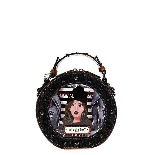 Nicole Lee Mujer JS13011-PIT Bolso circular pequeño, detalles en tejido vaquero Talla única: Amazon.es: Zapatos y complementos