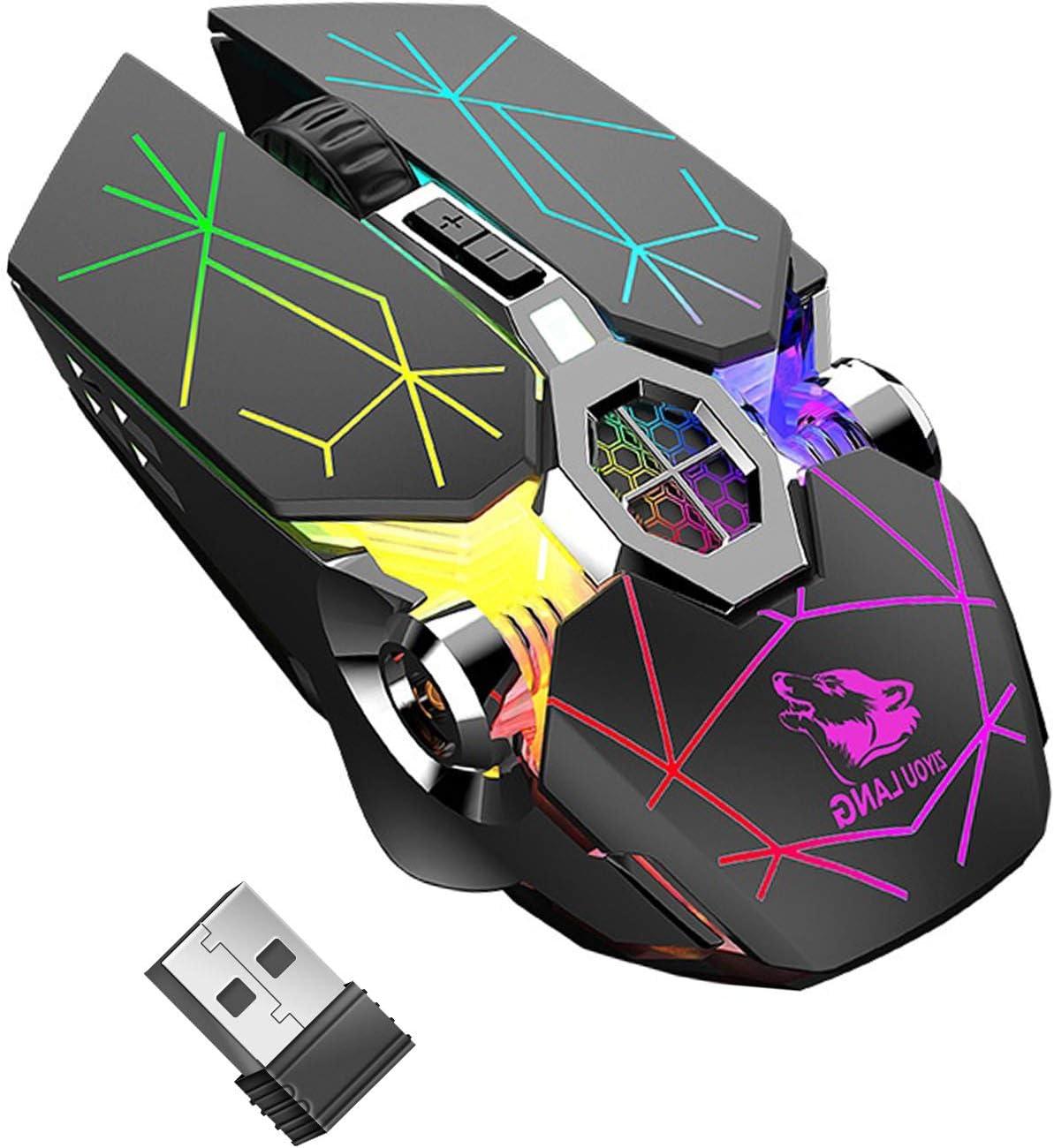 Ratón inalámbrico para juegos, RGB multicolor recargable y silencioso, accesorios para ordenador, para juegos en casa, oficina, 7 botones, múltiples funciones, color negro