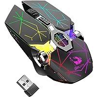 Ratón inalámbrico para juegos, RGB multicolor recargable y silencioso, accesorios para ordenador, para juegos en casa…