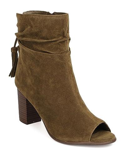 e82de1f8f6d Breckelle s Women Faux Suede Peep Toe Tassel Chunky Heel Bootie GJ78 -  Olive (Size