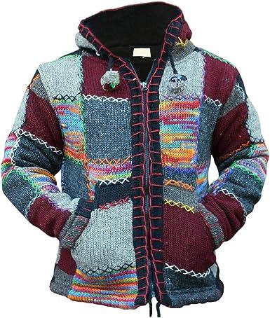 Grey Black Wool Cardigan Warm Winter Striped Sweater Jacket Fleece Lined Hoodie