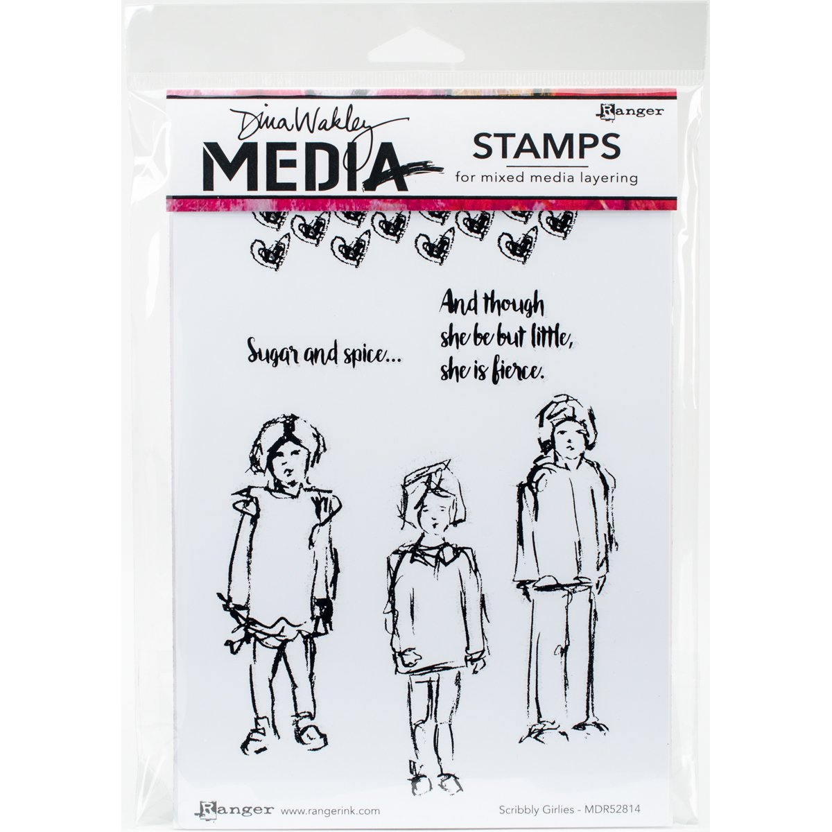 Ranger Dina Wakley Media Cling Stamps Scribbly Girlies  (8 Pack)
