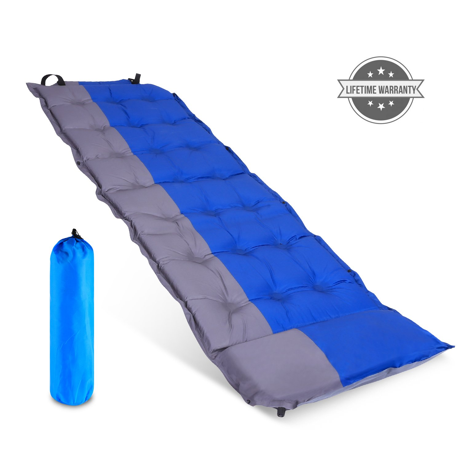 outcamer Sleeping Pad with Attachedの枕バックパッキングキャンプハイキング、プレミアムSelf Inflating Sleeping Pad、軽量インフレータブルFoam Padding Sleeping Mat – 断熱耐久性コンパクト – For Kids B07D3NCWQZ  ブルー