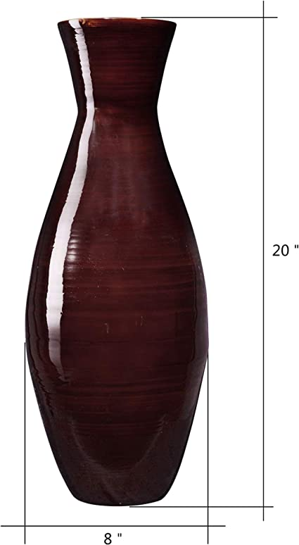 Villacera Handcrafted 20 Tall Brown Classic Floor Vase For Silk Plants Flowers Filler Decor Sustainable Bamboo Amazon Co Uk Kitchen Home