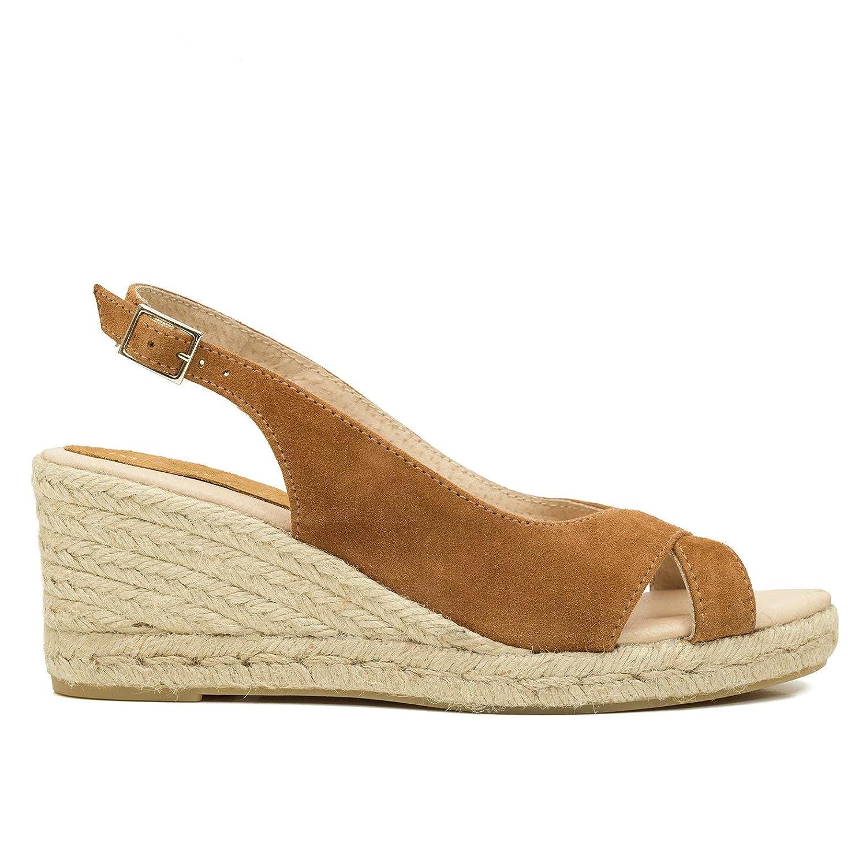 Espadrille Compens/ée Talon D/écouvert Espadrille en Cuir Made in Spain Confort miMaO Chaussures Sandales Femmes