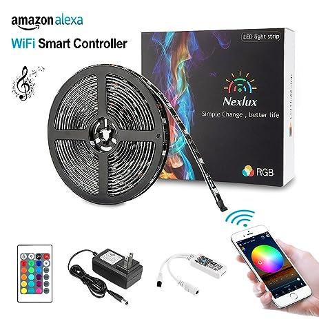 Amazon.com : Nexlux LED Strip Lights, Wifi Wireless Smart Phone ...