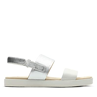 c7f98fe4a Clarks Botanic Rose Leather Sandals in Silver Combi Standard Fit Size 7½