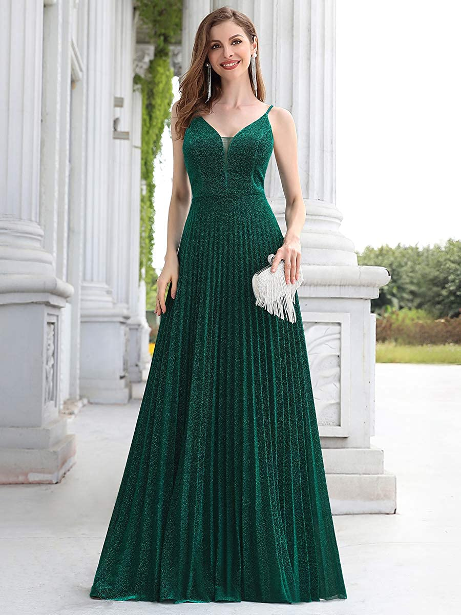 Ever-Pretty Abiti da Cerimonia Brillantini Plissettato Scollo a V Senza Maniche Spallacci Regolabili Donna 00594