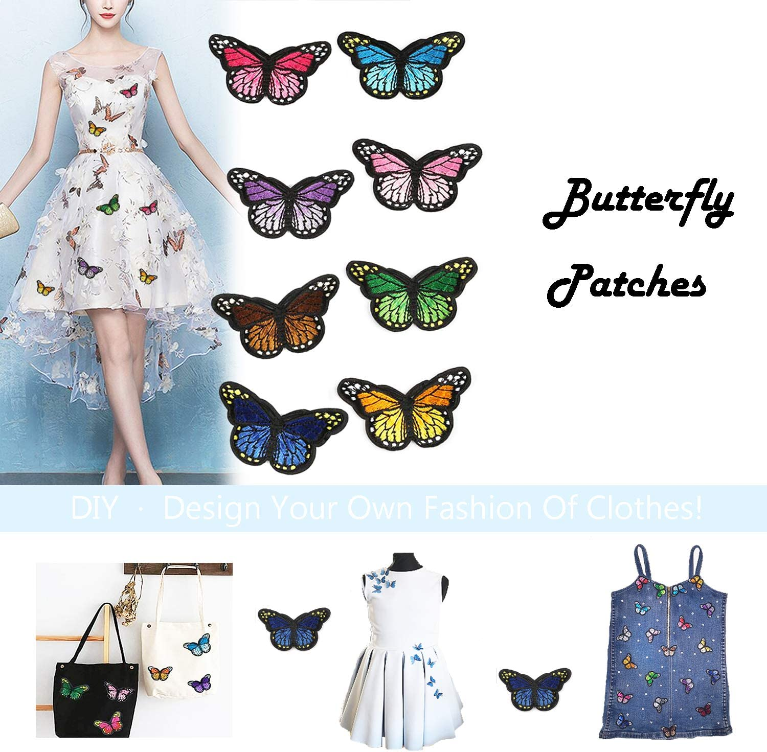 Bags,Caps 20PCs Butterfly Style Butterfly Patches Iron On Appliques for Clothing Embroidery Patches for Clothes Applique Patches for Arts Crafts DIY Decor