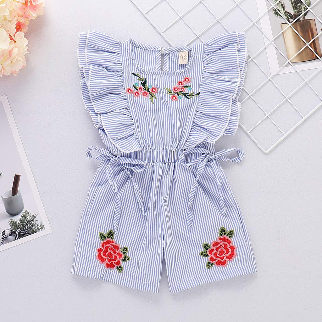 UCQueen Sunsuit Baby Girl Toddler Kids Baby Girl Embroideried Striped Flower Rose Jumpsuit Romper Clothes