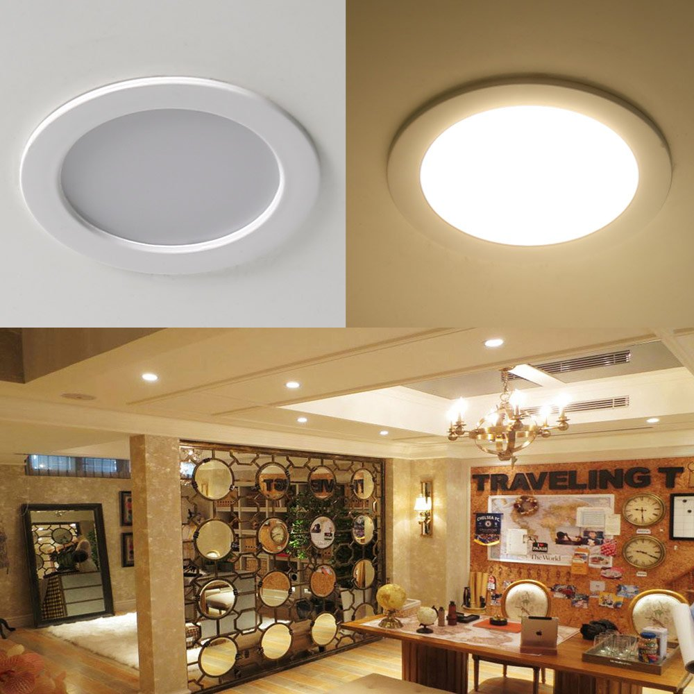 LE 8W 3.5-Inch LED Recessed Lighting 75W Halogen Bulbs Equivalent Not Dimmable LED Driver Included 400lm Warm White 3000K 90 Beam Angle Recessed ... & LE 8W 3.5-Inch LED Recessed Lighting 75W Halogen Bulbs Equivalent ... azcodes.com