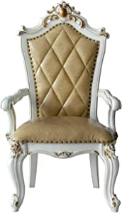 ACME Furniture Picardy Arm Chair (Set of 2), PU and Antique Pearl